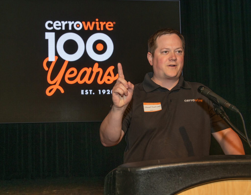 President Stewart Smallwood speaks to the crowd at Cerrowire's 100-Year Anniversary Celebration in Carrollton, Georgia.